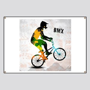 BMX Rider with Abstract Paint Splotches Col Banner