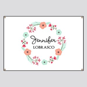 Personalized Floral Wreath Banner