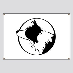 Border Collie Head B&W Banner