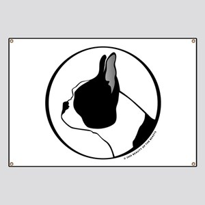 Boston Terrier Head B&W Banner