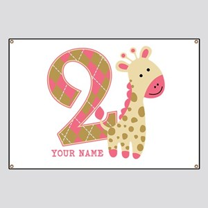2nd Birthday Giraffe Personalized Banner