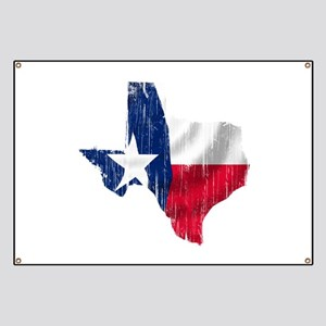 Texas Shape Flag Distressed Banner
