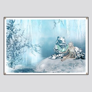 Wonderful snow tiger with fairy and bird Banner
