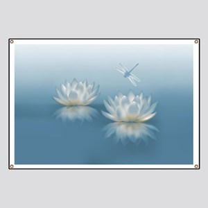 Blue Lotus and Dragonfly Banner
