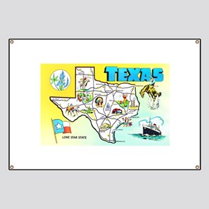 Texas Map Greetings Banner