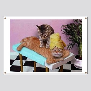 Funny Cat Massage Banner