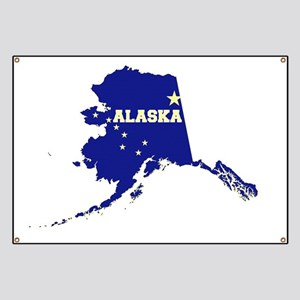 Alaska State Map and Flag Banner