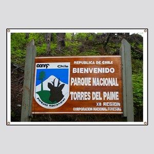 Torres del Paine Sign, Chile Banner