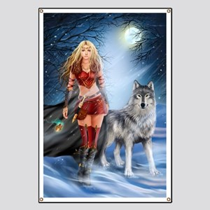 Warrior Woman and Wolf Banner