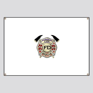Maltese Cross with American Flag background Banner