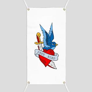 Free Bird Heart Knife Tattoo Banner