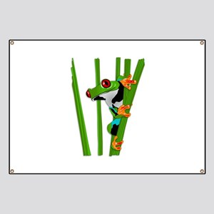 Cute frog on grass Banner