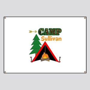 Tent Campfire Camping Name Banner