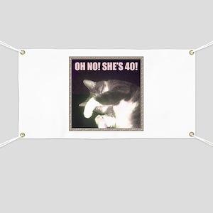 Funny 40th Birthday (Cat) Banner