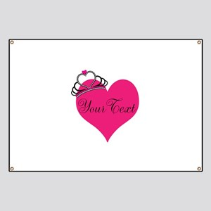 Personalizable Pink Heart with Crown Banner