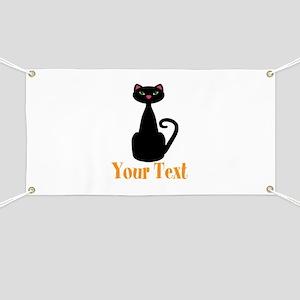 Personalizable Orange Black Cat Banner