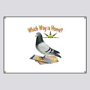 Which Way is Home? Fun Lost Pigeon Art Banner