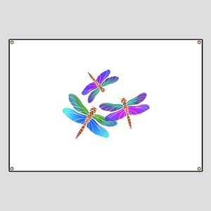 Dive Bombing Iridescent Dragonflies Banner