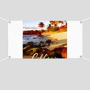 Palms, Beach, Rocks Ocean at Sunset Califo Banner