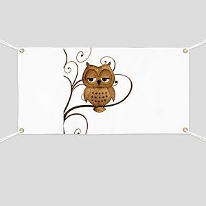 Brown Swirly Tree Owl Banner
