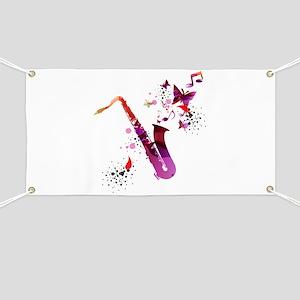 Stylish colorful music saxophone background Banner