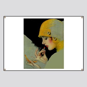 Art Deco Roaring 20s Flapper With Lipstick Banner