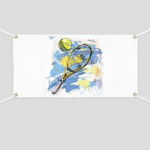 Hand drawn with graffiti tennis sport Banner