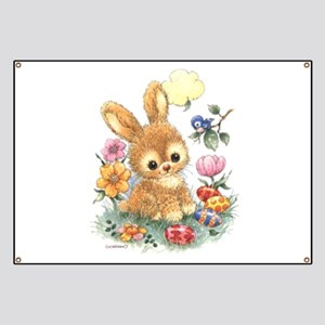 Cute Easter Bunny with Flowers and Eggs Banner