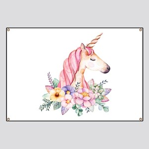 Pink Unicorn with Colorful Flower Collar Banner