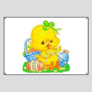 Vintage Cute Easter Duckling and Easter Egg Banner