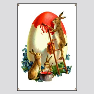 Easter rabbits painting Banner