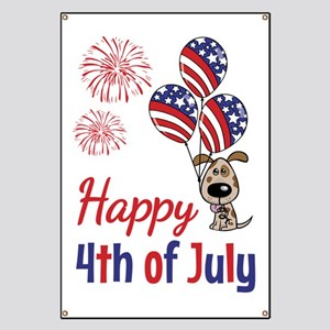 Happy 4th Doggy with Balloons Banner