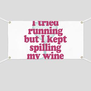 Wine vs Running Lazy Humor Banner