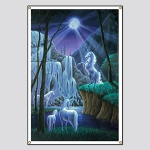 Unicorns in the Moonlight large poster Banner