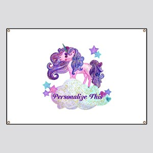 Watercolor Unicorn Monogram Banner