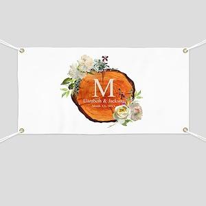 Floral Wood Wedding Monogram Banner