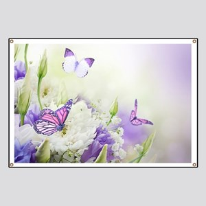 Flowers and Butterflies Banner