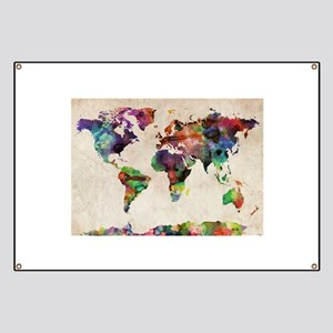 World Map Urban Watercolor 14x10 Banner