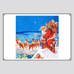 Santa and His Reindeer Up On a Snowy Roofto Banner