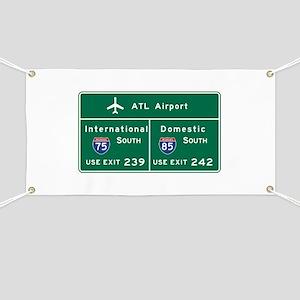 Atlanta Airport, GA Road Sign, USA Banner