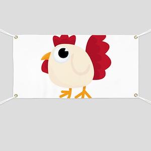 Funny White Chicken Banner