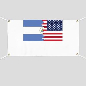 Nicaraguan American Flag Banner