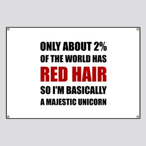 Red Hair Majestic Unicorn Banner