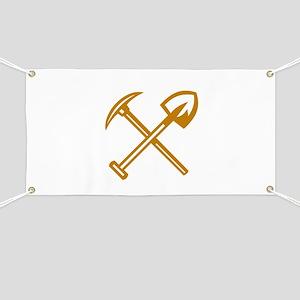 Pick Axe Shovel Crossed Retro Banner