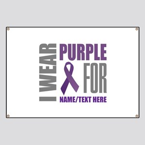 Purple Awareness Ribbon Customized Banner