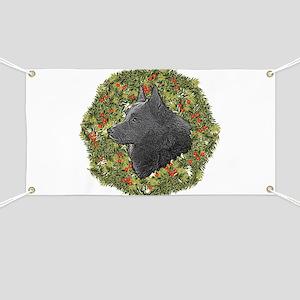 Schipperke Xmas Wreath Banner