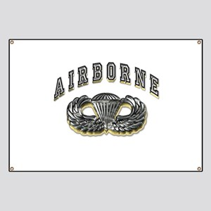 US Army Airborne Wings Silver Banner