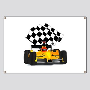 Yellow Race Car with Checkered Flag Banner