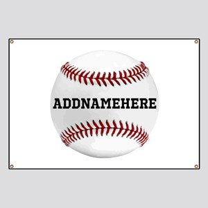 Personalized Baseball Red/White Banner