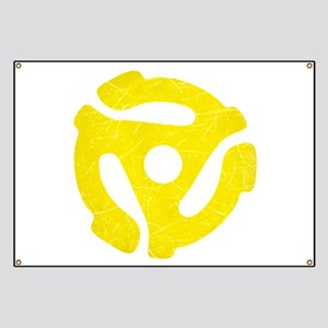 Yellow Distressed 45 RPM Adapter Banner